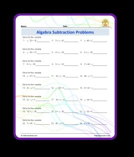 subtraction algebra problems