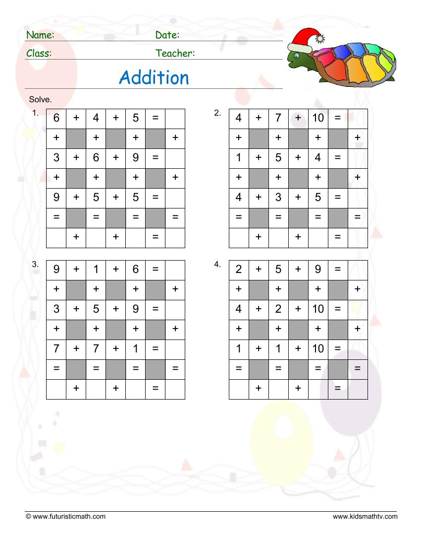 Addition Across Down Puzzle 2