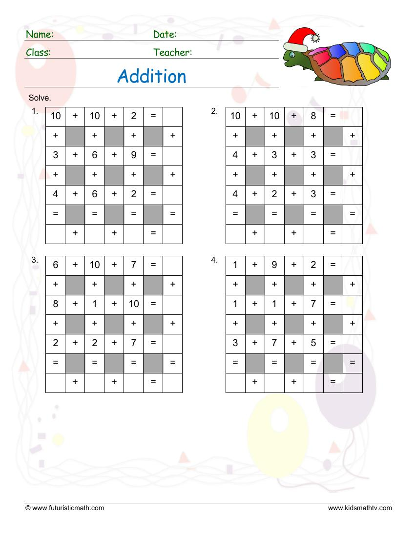 Addition Across Down Puzzle