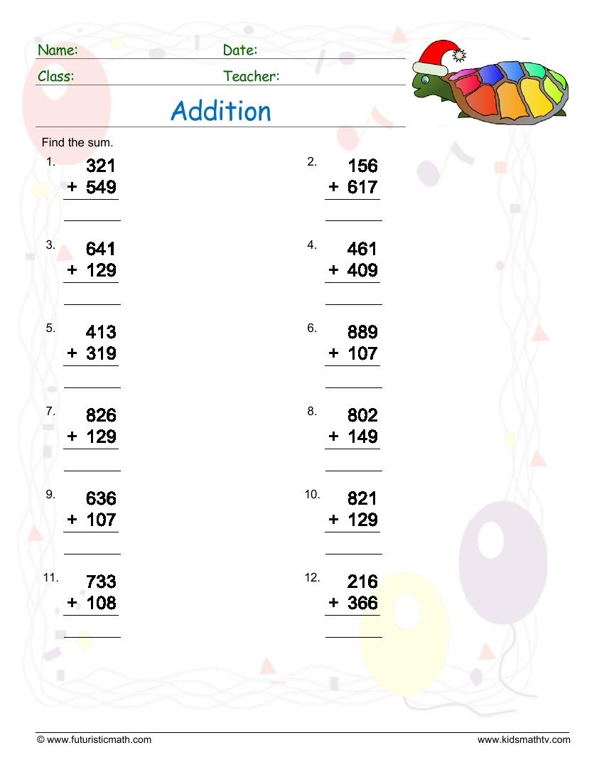 Adding Three Numbers With Regrouping