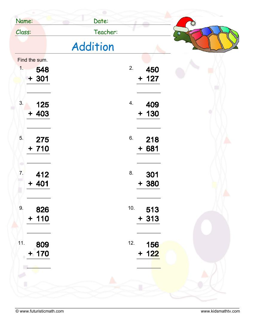 Addition Of Three Digit Numbers No Regrouping