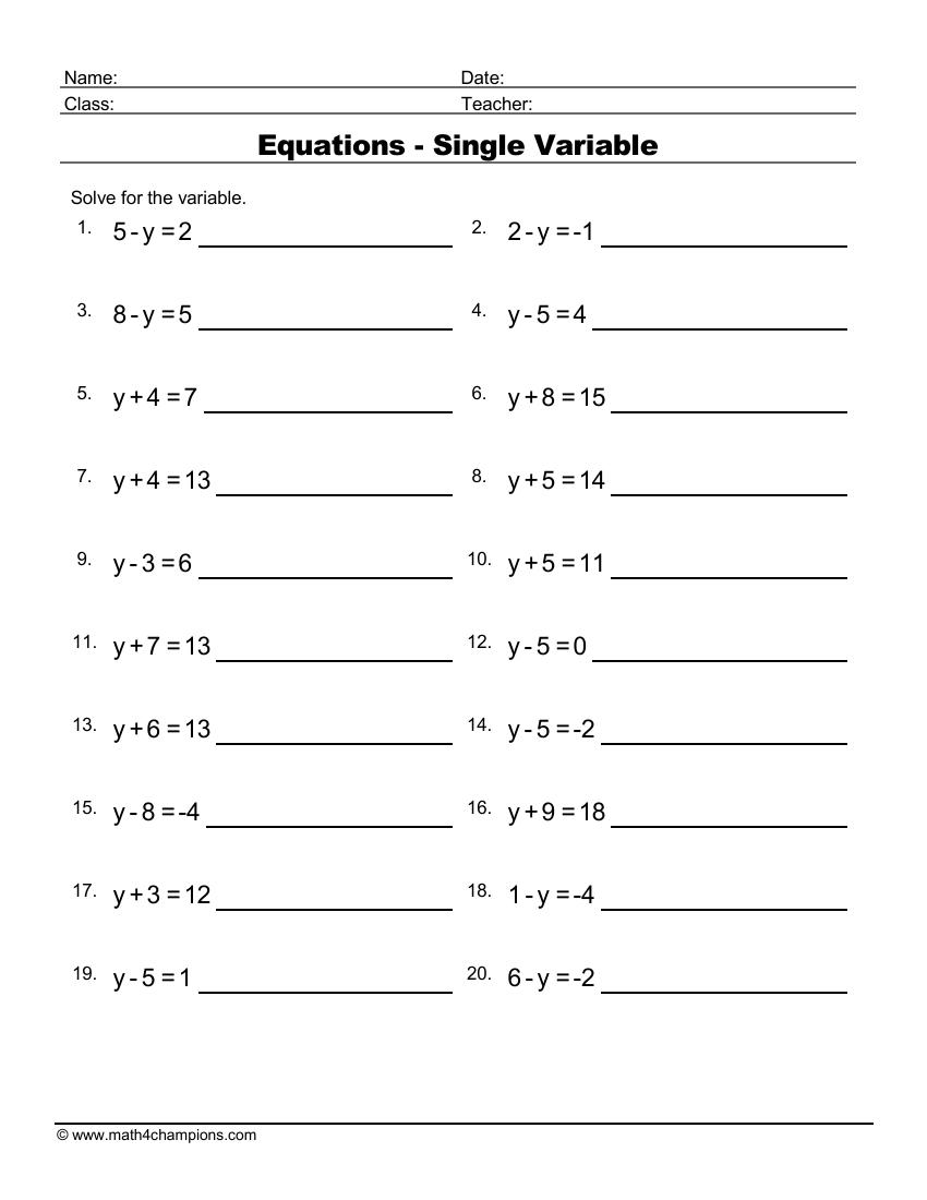 Algebra Equations With A Single Missing Variable 2
