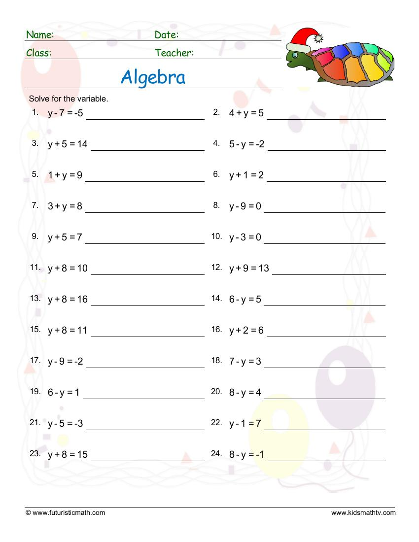 Algebra Equations With A Single Missing Variable