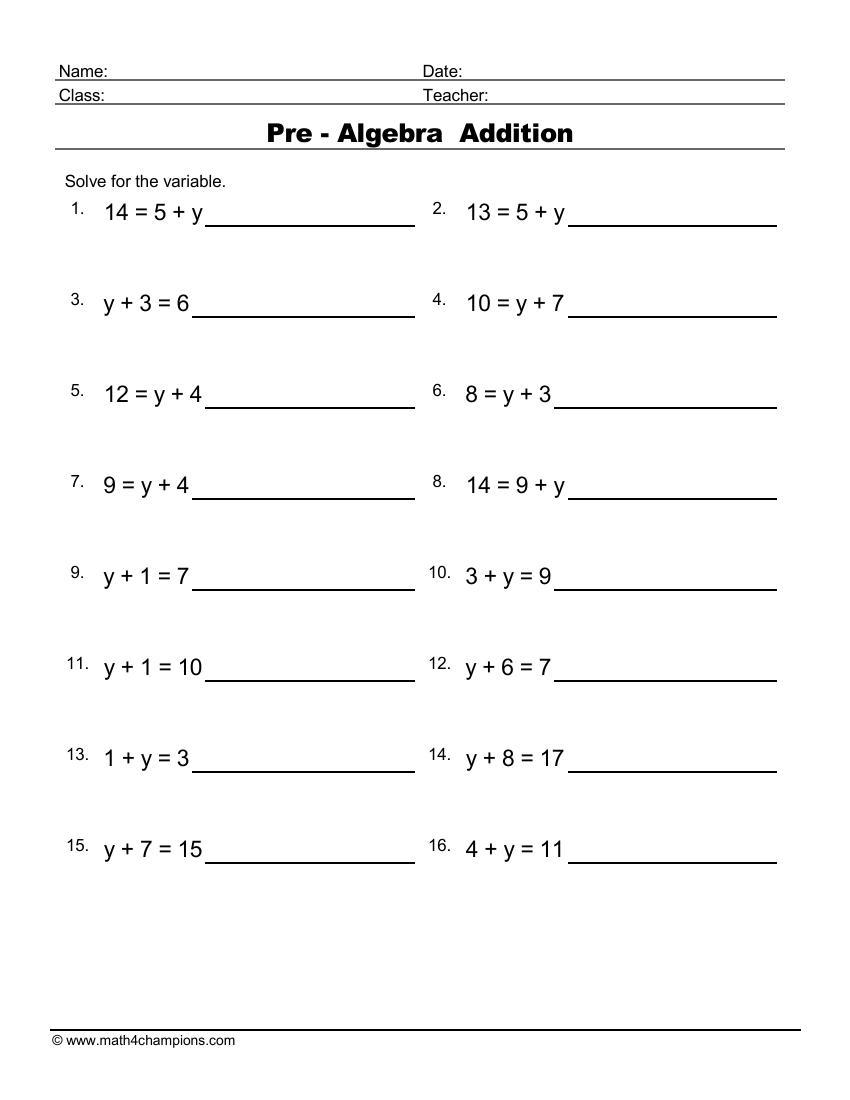 Pre Algebra Equations Addition