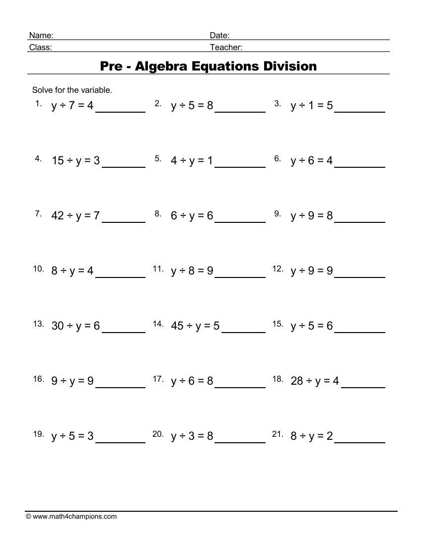 Pre Algebra Equations Division