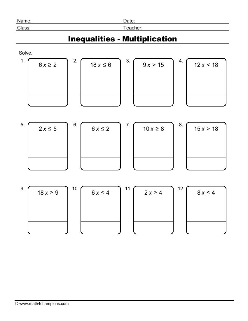 Inequalities Multiplication