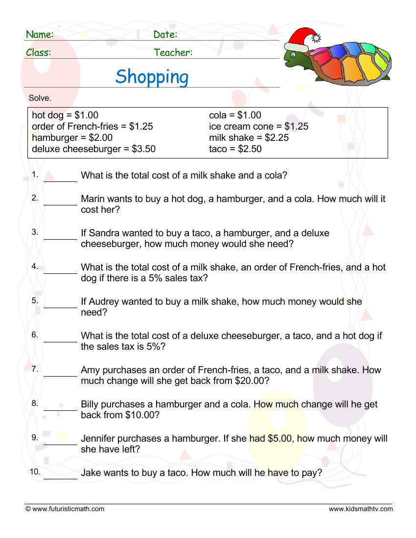 Shopping Word Problems 2
