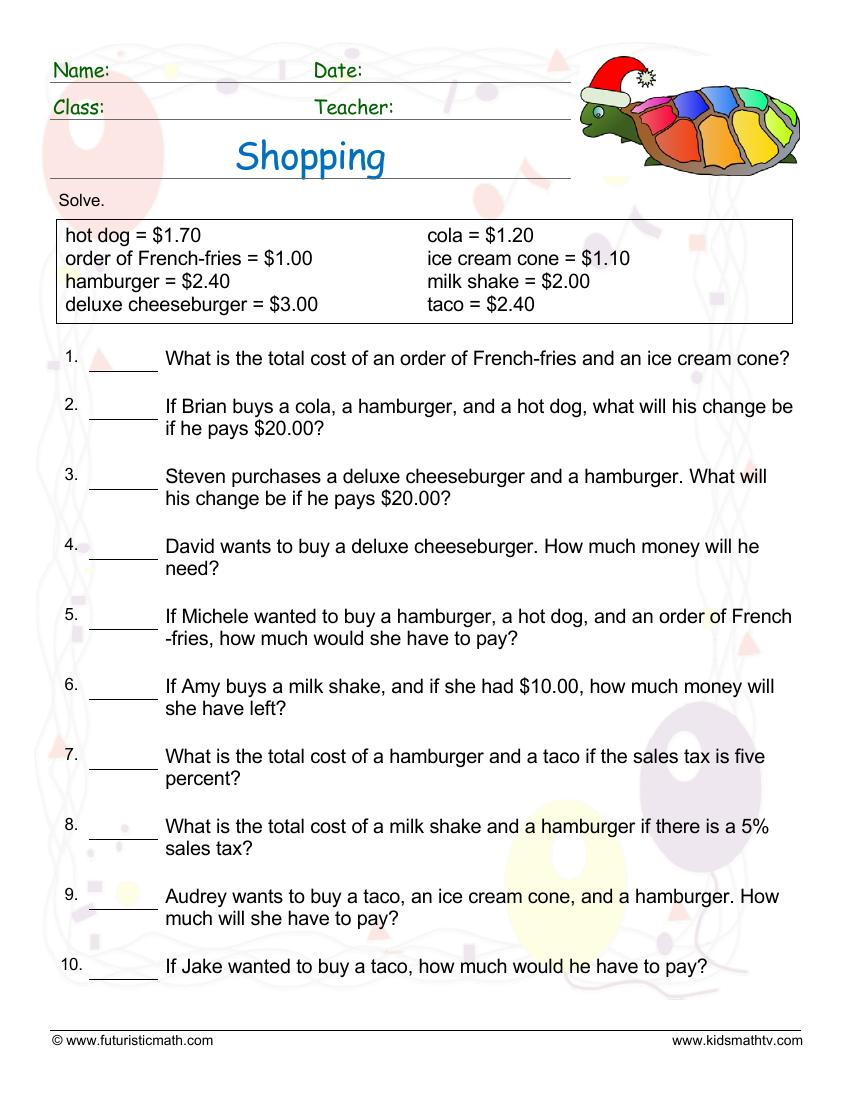 Shopping Word Problems