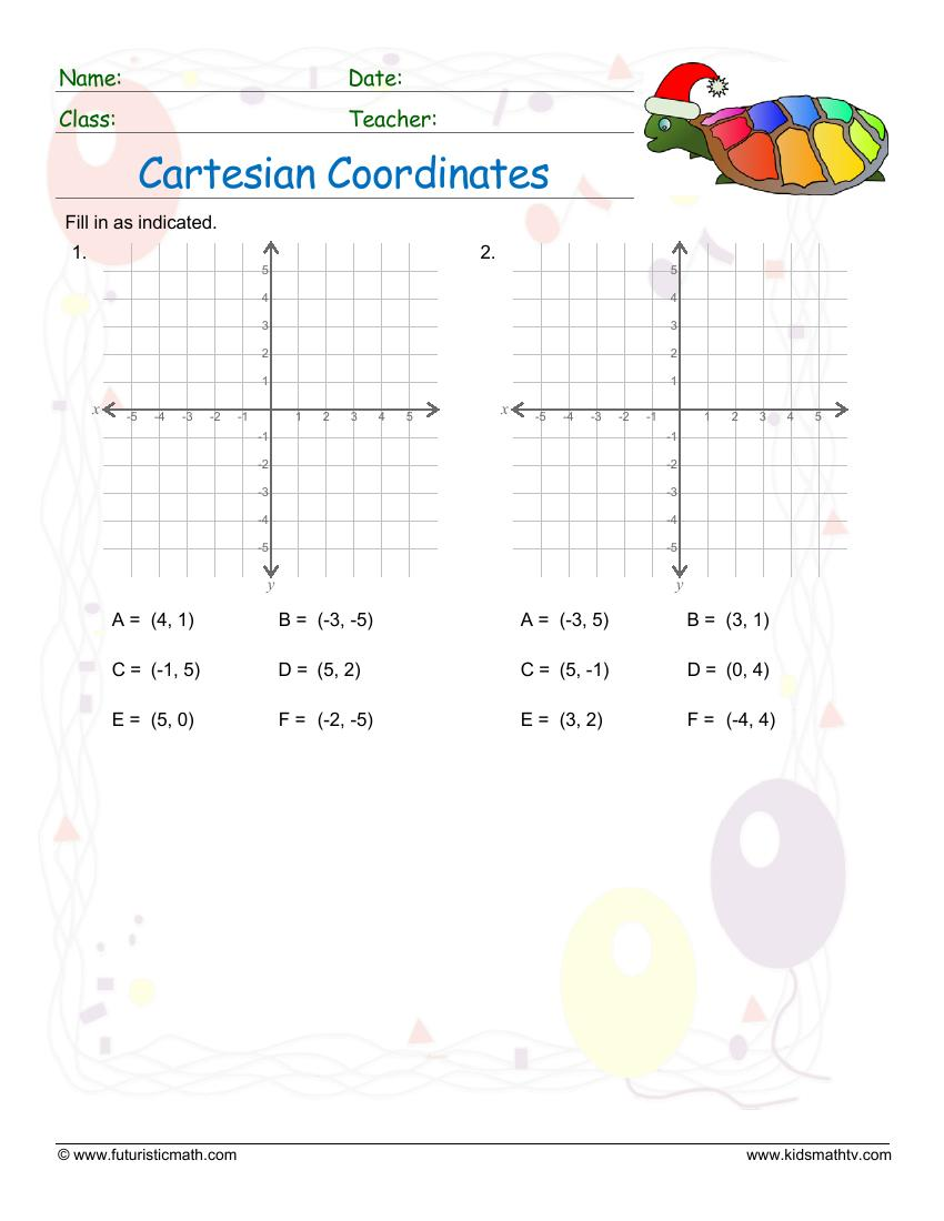 Cartesian Coordinates Plot Points In A Graph