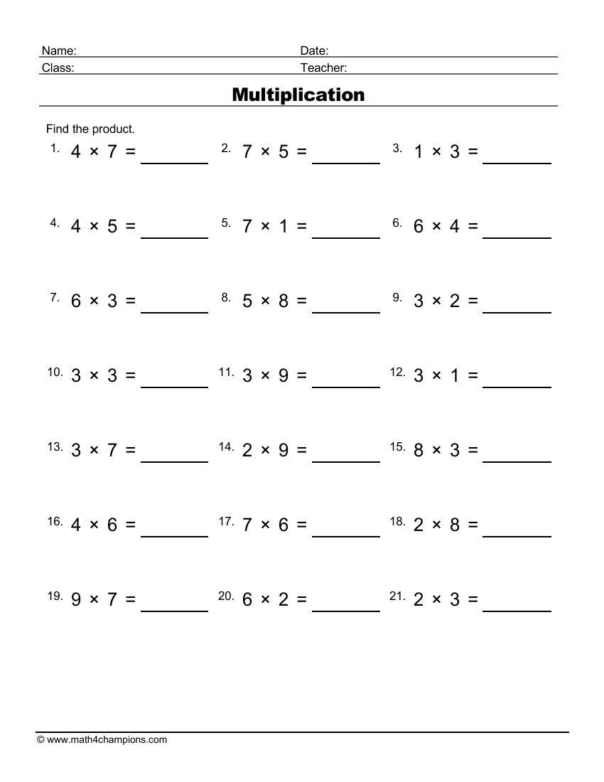 Multiply Single Digit Numbers