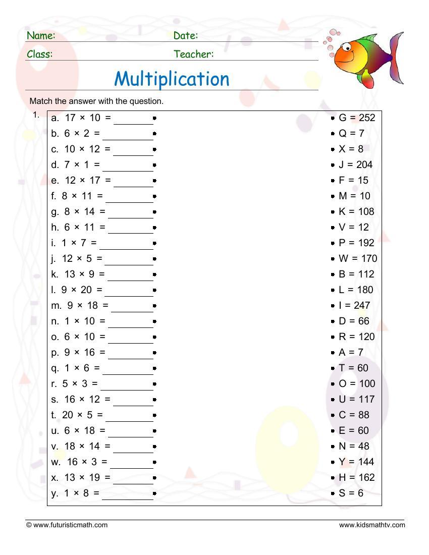 Multiplication Match Up