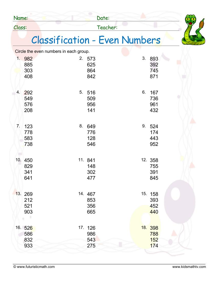 Classification Of Even Numbers