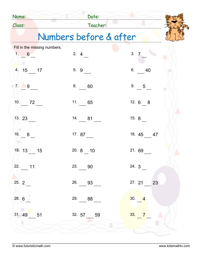 Number Positions Before After Between