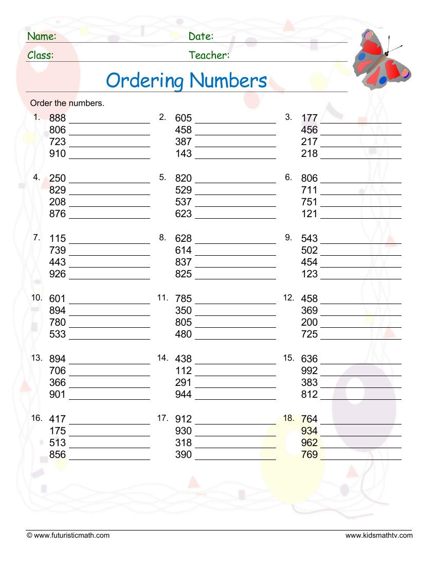 Order Numbers From Least To Greatest