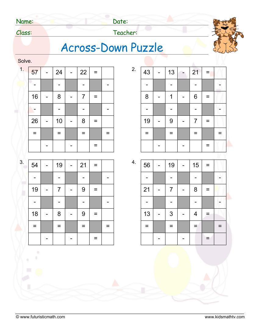 Subtraction Across Down Puzzle